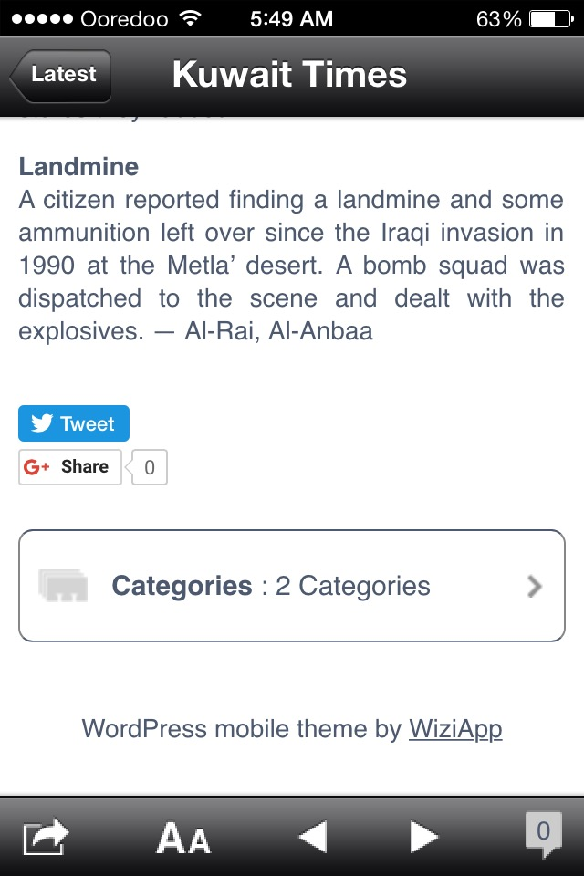 Land mine article